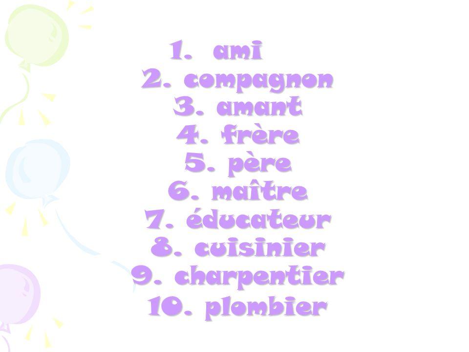 11.mécanicien 12. décorateur 13. styliste 14. sexologue 15.