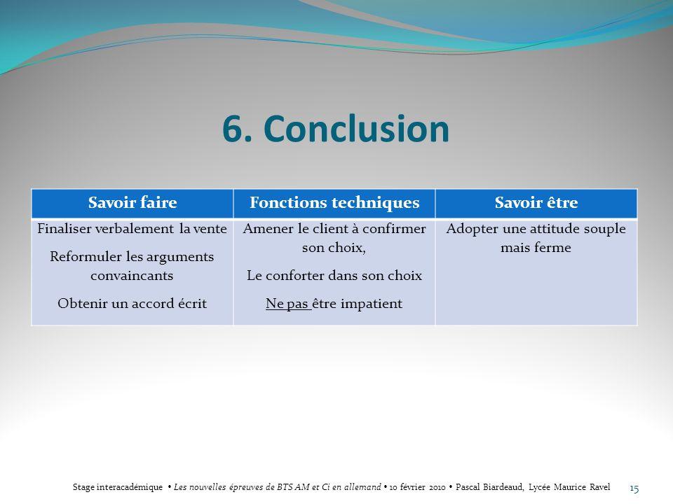6. Conclusion Savoir faireFonctions techniquesSavoir être Finaliser verbalement la vente Reformuler les arguments convaincants Obtenir un accord écrit