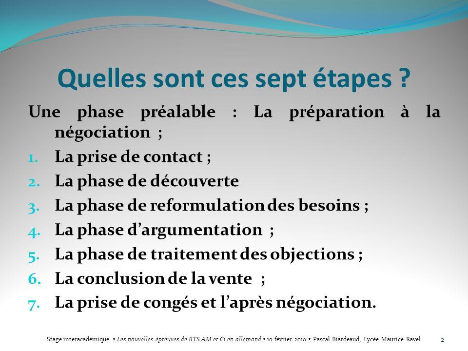 Quelles sont ces sept étapes ? Une phase préalable : La préparation à la négociation ; 1. La prise de contact ; 2. La phase de découverte 3. La phase
