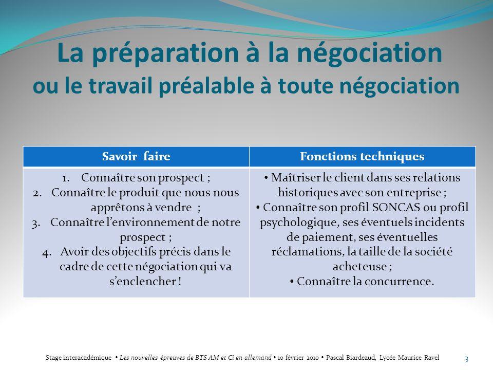 La préparation à la négociation ou le travail préalable à toute négociation Savoir faireFonctions techniques 1.Connaître son prospect ; 2.Connaître le