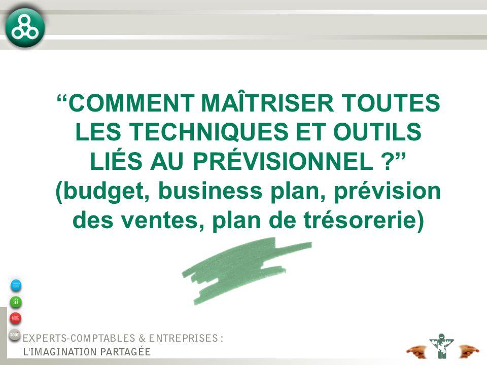 COMMENT MAÎTRISER TOUTES LES TECHNIQUES ET OUTILS LIÉS AU PRÉVISIONNEL ? (budget, business plan, prévision des ventes, plan de trésorerie)
