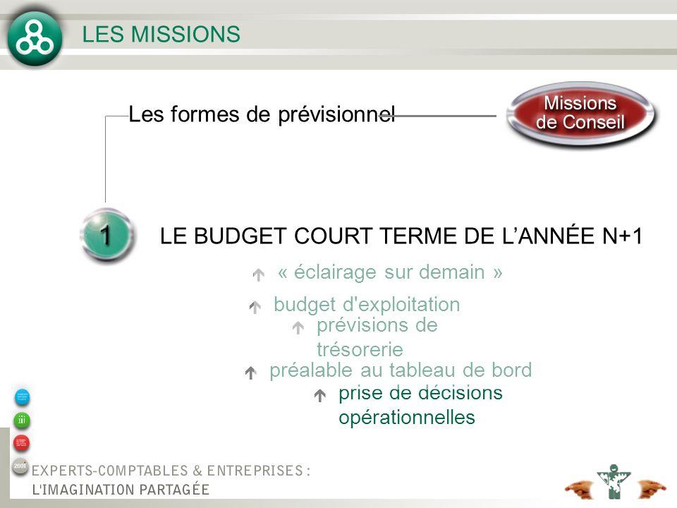 LES MISSIONS LE BUDGET COURT TERME DE LANNÉE N+1 Les formes de prévisionnel é « éclairage sur demain » é budget d'exploitation é prévisions de trésore