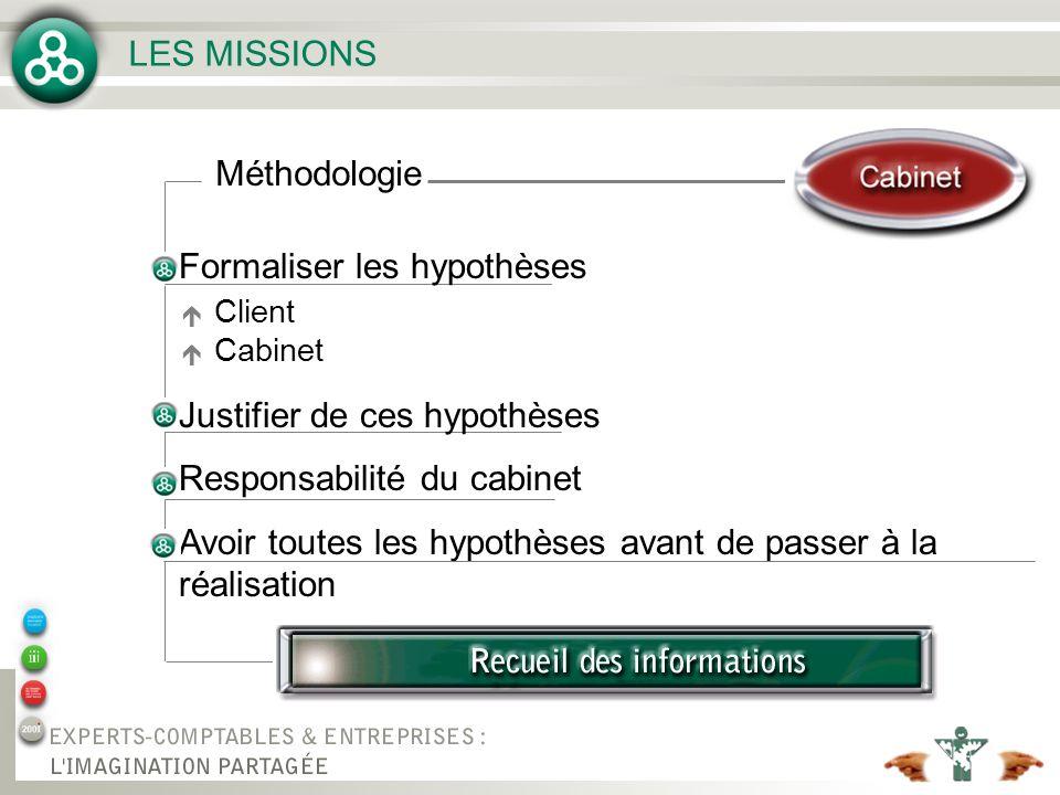 LES MISSIONS Méthodologie Formaliser les hypothèses Justifier de ces hypothèses Responsabilité du cabinet Avoir toutes les hypothèses avant de passer