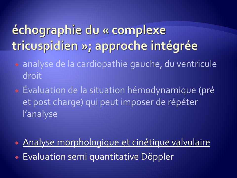analyse de la cardiopathie gauche, du ventricule droit Évaluation de la situation hémodynamique (pré et post charge) qui peut imposer de répéter lanal