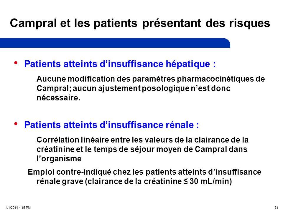 4/1/2014 4:17 PM 31 Campral et les patients présentant des risques Patients atteints dinsuffisance hépatique : Aucune modification des paramètres pharmacocinétiques de Campral; aucun ajustement posologique nest donc nécessaire.