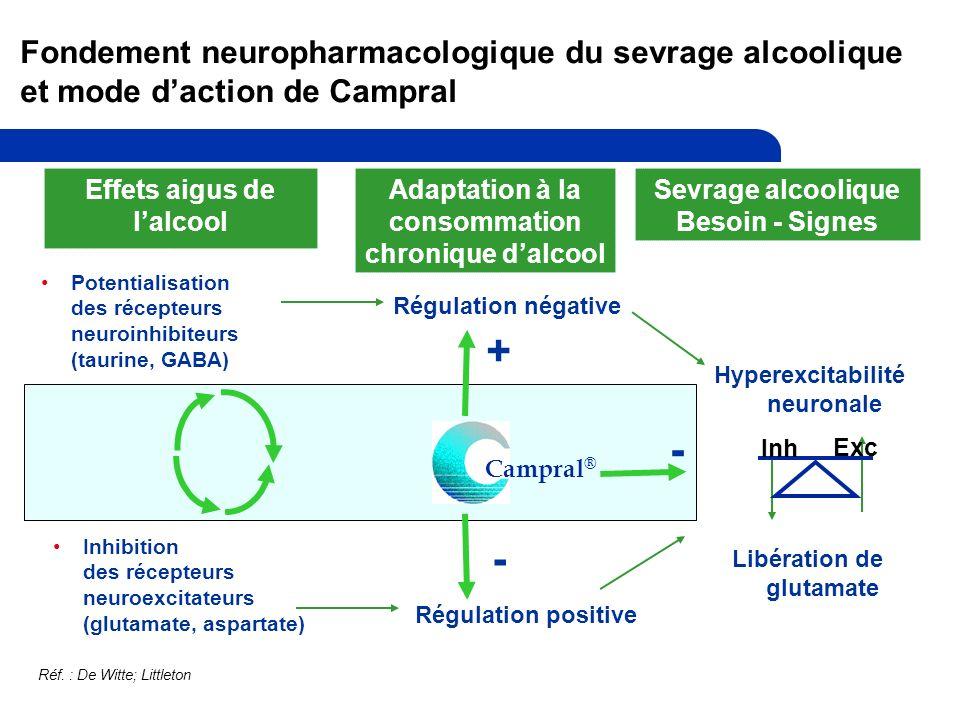 Fondement neuropharmacologique du sevrage alcoolique et mode daction de Campral Effets aigus de lalcool Adaptation à la consommation chronique dalcool Sevrage alcoolique Besoin - Signes Potentialisation des récepteurs neuroinhibiteurs (taurine, GABA) Inhibition des récepteurs neuroexcitateurs (glutamate, aspartate) Régulation négative Régulation positive Hyperexcitabilité neuronale Libération de glutamate Campral ® + - - Inh Exc Réf.