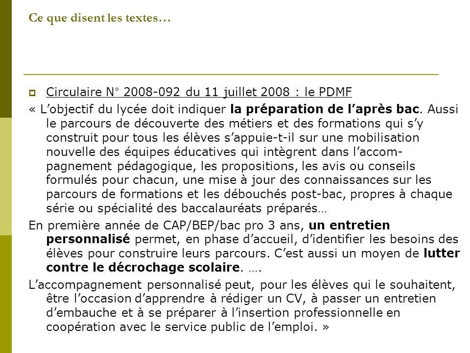 Ce que disent les textes… Circulaire N° 2008-092 du 11 juillet 2008 : le PDMF « Lobjectif du lycée doit indiquer la préparation de laprès bac.