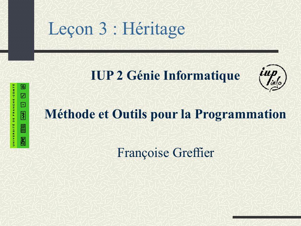 Leçon 3 : Héritage IUP 2 Génie Informatique Méthode et Outils pour la Programmation Françoise Greffier