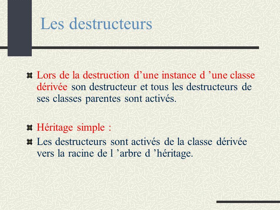 Les destructeurs Lors de la destruction dune instance d une classe dérivée son destructeur et tous les destructeurs de ses classes parentes sont activ
