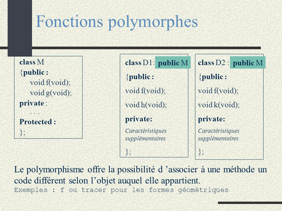 Fonctions polymorphes class M {public : void f(void); void g(void); private :... Protected : }; class D1: {public : void f(void); void h(void); privat