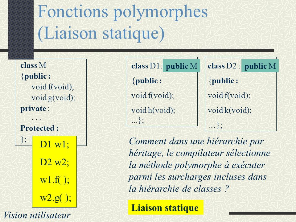 Fonctions polymorphes (Liaison statique) class M {public : void f(void); void g(void); private :... Protected : }; D1 w1; D2 w2; w1.f( ); w2.g( ); Vis