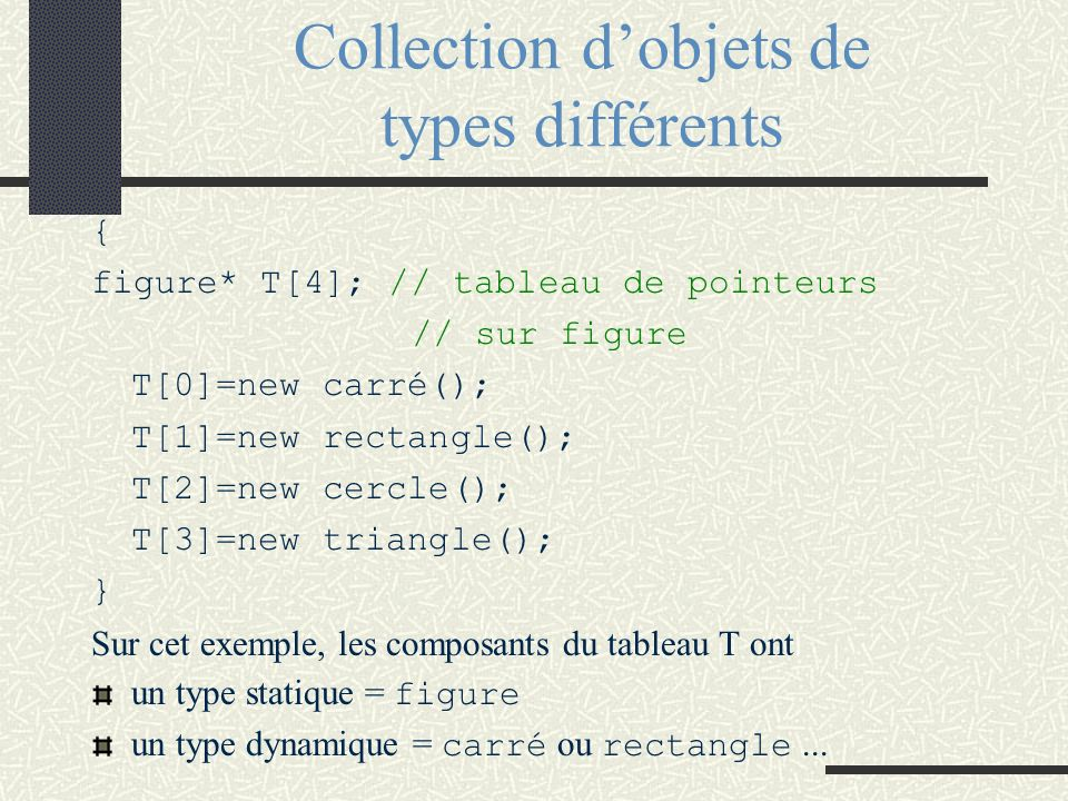 Collection dobjets de types différents { figure* T[4]; // tableau de pointeurs // sur figure T[0]=new carré(); T[1]=new rectangle(); T[2]=new cercle()