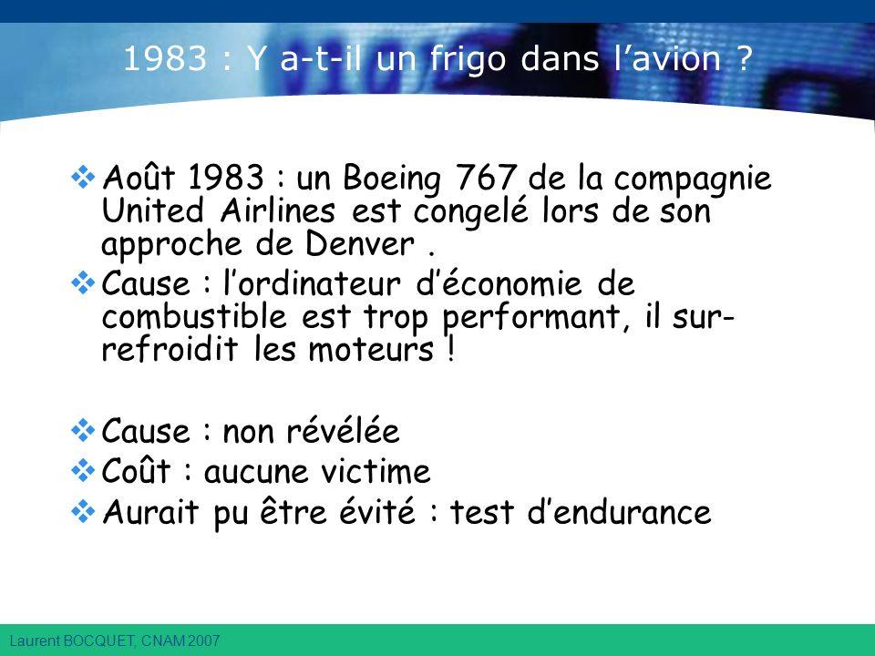 Laurent BOCQUET, CNAM 2007 1983 : Y a-t-il un frigo dans lavion .