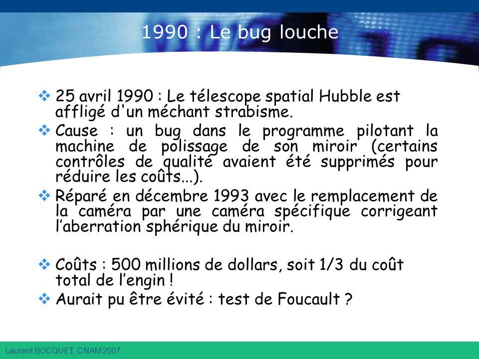 Laurent BOCQUET, CNAM 2007 1990 : Le bug louche 25 avril 1990 : Le télescope spatial Hubble est affligé d un méchant strabisme.