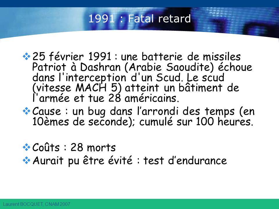 Laurent BOCQUET, CNAM 2007 1991 : Fatal retard 25 février 1991 : une batterie de missiles Patriot à Dashran (Arabie Saoudite) échoue dans l interception d un Scud.