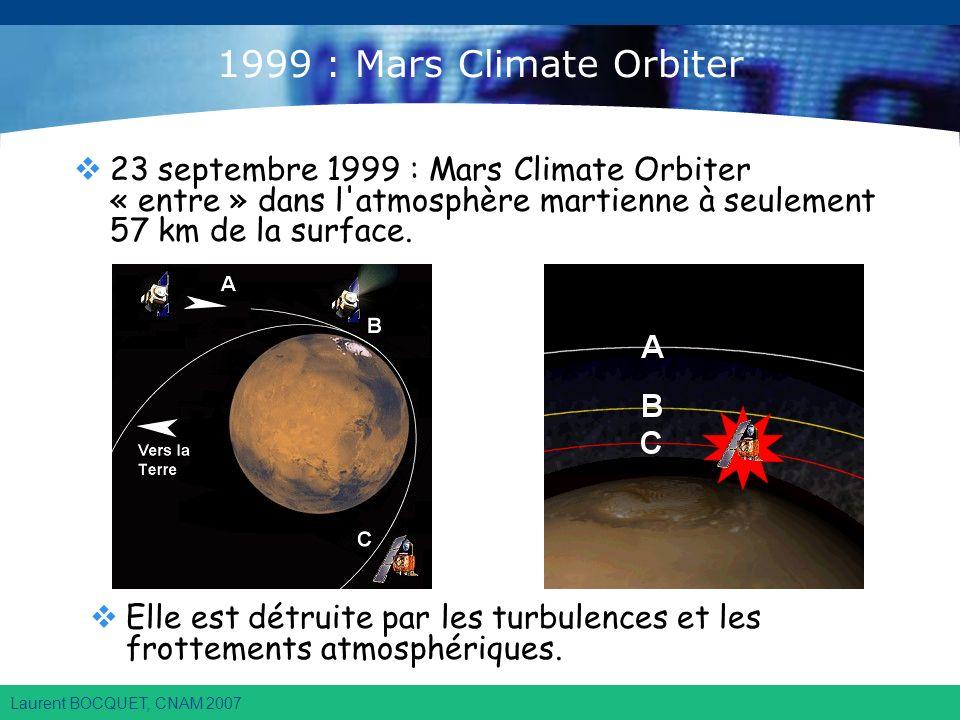 Laurent BOCQUET, CNAM 2007 1999 : Mars Climate Orbiter 23 septembre 1999 : Mars Climate Orbiter « entre » dans l atmosphère martienne à seulement 57 km de la surface.