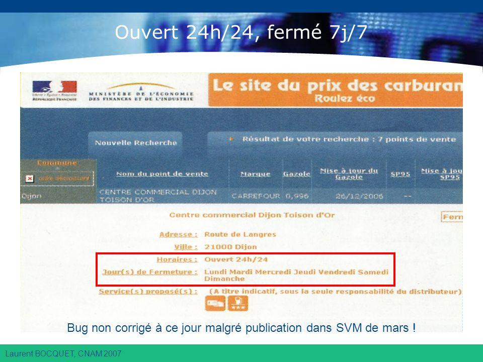Laurent BOCQUET, CNAM 2007 Ouvert 24h/24, fermé 7j/7 Bug non corrigé à ce jour malgré publication dans SVM de mars !