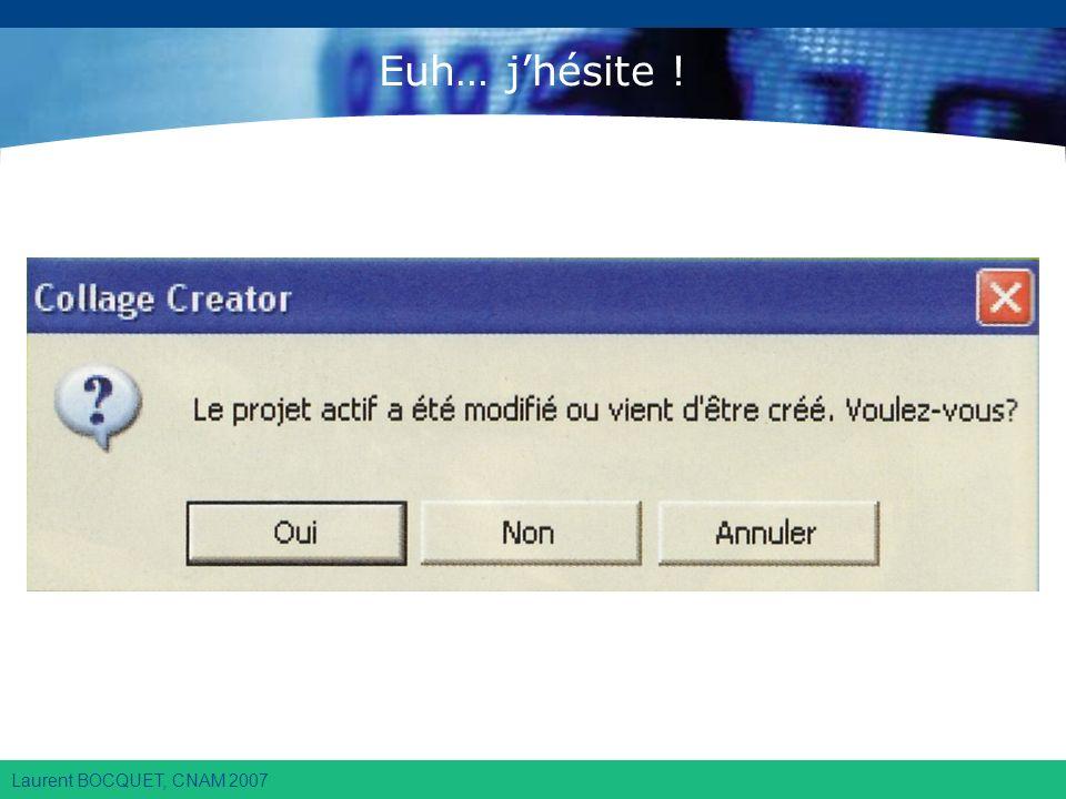 Laurent BOCQUET, CNAM 2007 Euh… jhésite !