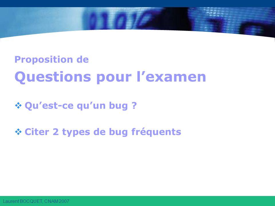 Laurent BOCQUET, CNAM 2007 Proposition de Questions pour lexamen Quest-ce quun bug .