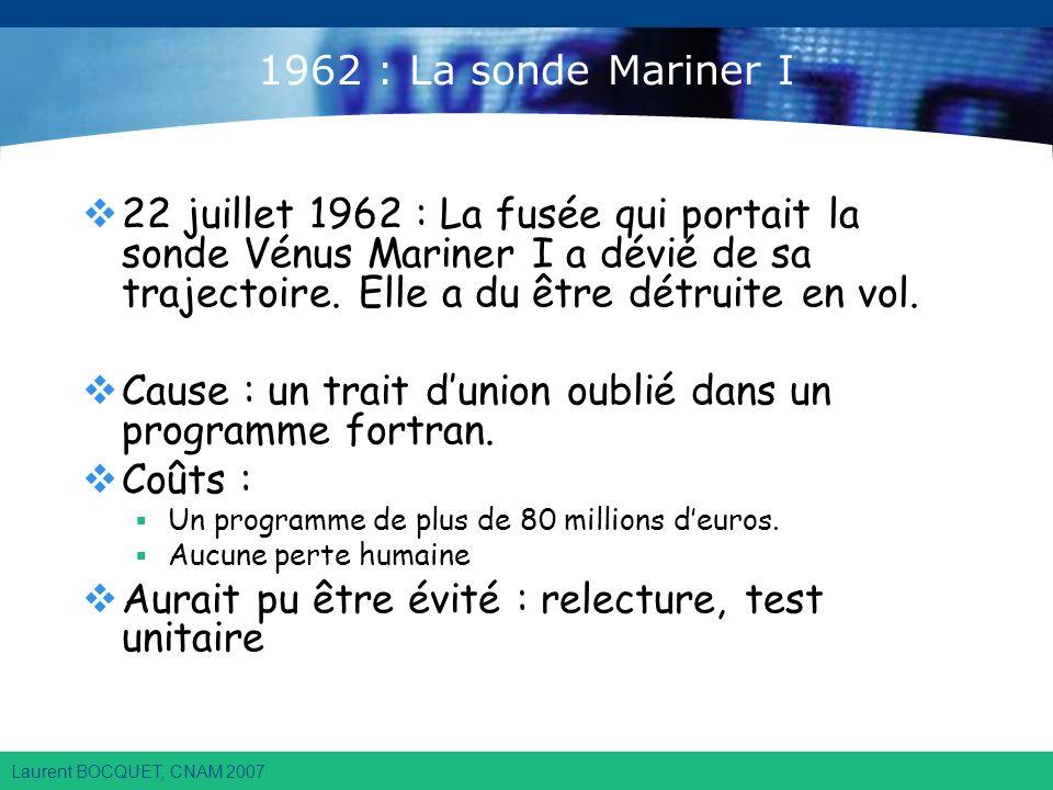 Laurent BOCQUET, CNAM 2007 1962 : La sonde Mariner I 22 juillet 1962 : La fusée qui portait la sonde Vénus Mariner I a dévié de sa trajectoire.