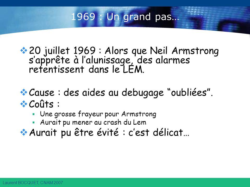 Laurent BOCQUET, CNAM 2007 1969 : Un grand pas… 20 juillet 1969 : Alors que Neil Armstrong sapprête à lalunissage, des alarmes retentissent dans le LEM.