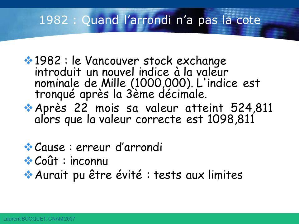 Laurent BOCQUET, CNAM 2007 1982 : Quand larrondi na pas la cote 1982 : le Vancouver stock exchange introduit un nouvel indice à la valeur nominale de Mille (1000,000).