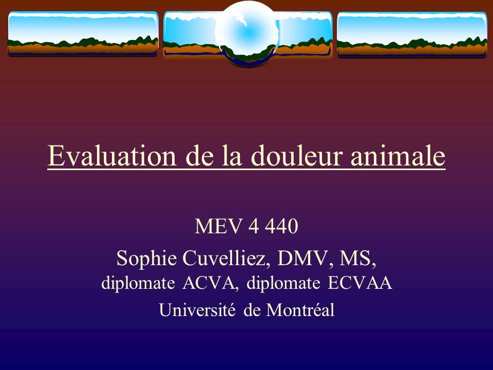 Evaluation de la douleur animale MEV 4 440 Sophie Cuvelliez, DMV, MS, diplomate ACVA, diplomate ECVAA Université de Montréal