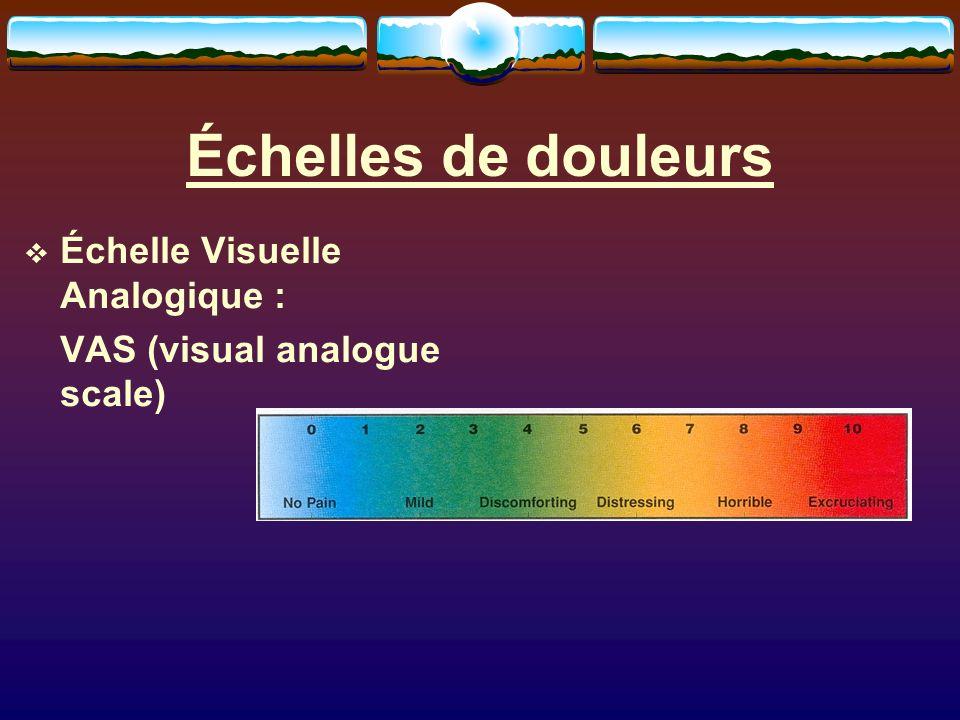 Échelle Visuelle Analogique : VAS (visual analogue scale)