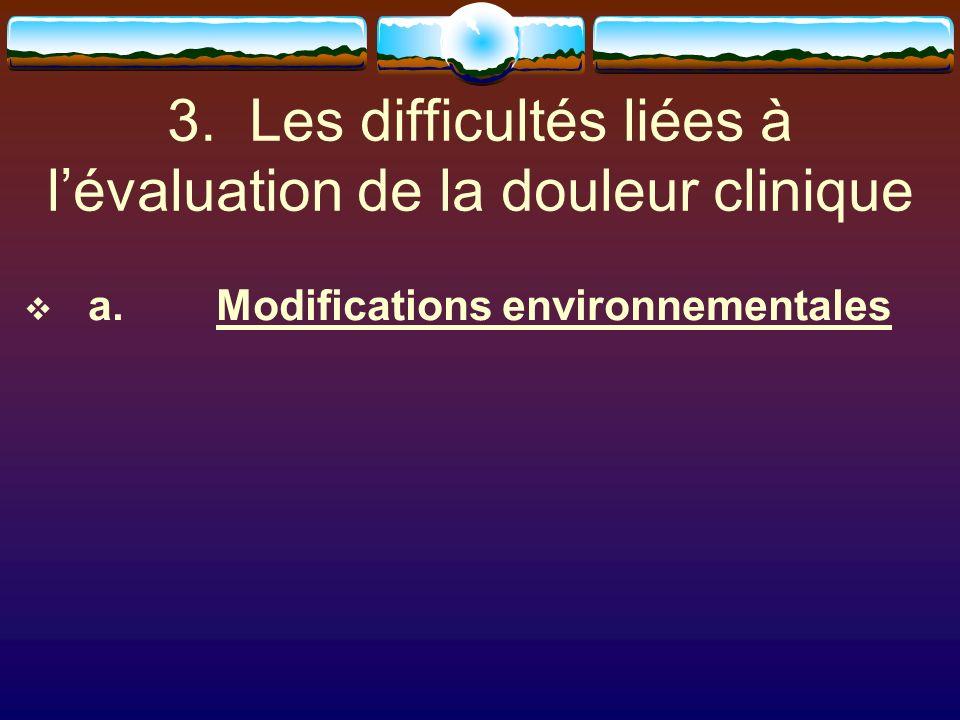 3. Les difficultés liées à lévaluation de la douleur clinique a.Modifications environnementales