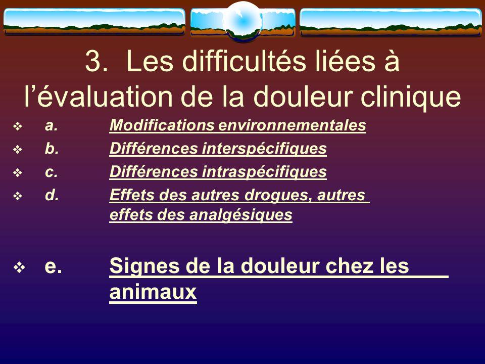3. Les difficultés liées à lévaluation de la douleur clinique a.Modifications environnementales b.Différences interspécifiques c. Différences intraspé