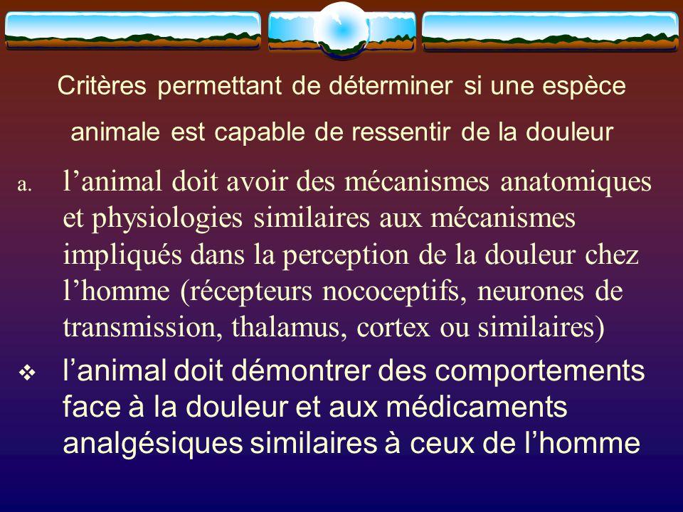 Critères permettant de déterminer si une espèce animale est capable de ressentir de la douleur a. lanimal doit avoir des mécanismes anatomiques et phy