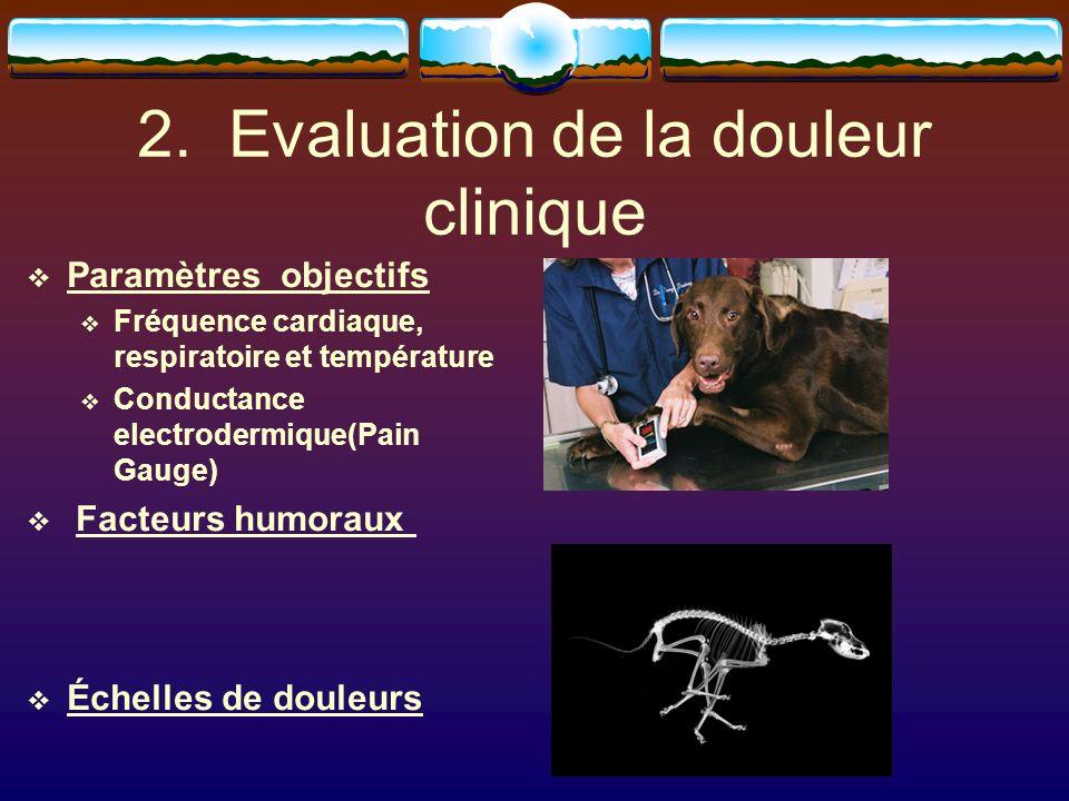 2. Evaluation de la douleur clinique Paramètres objectifs Fréquence cardiaque, respiratoire et température Conductance electrodermique(Pain Gauge) Fac