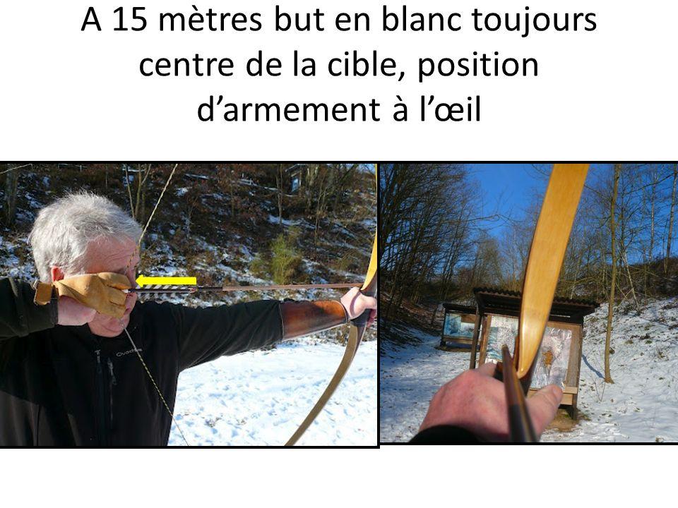 A 15 mètres but en blanc toujours centre de la cible, position darmement à lœil