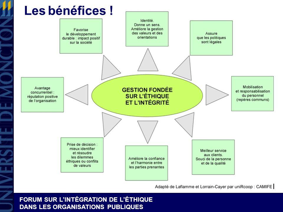 FORUM SUR LINTÉGRATION DE LÉTHIQUE DANS LES ORGANISATIONS PUBLIQUES Les bénéfices !