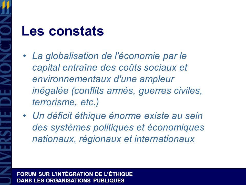 FORUM SUR LINTÉGRATION DE LÉTHIQUE DANS LES ORGANISATIONS PUBLIQUES Les constats La globalisation de l'économie par le capital entraîne des coûts soci