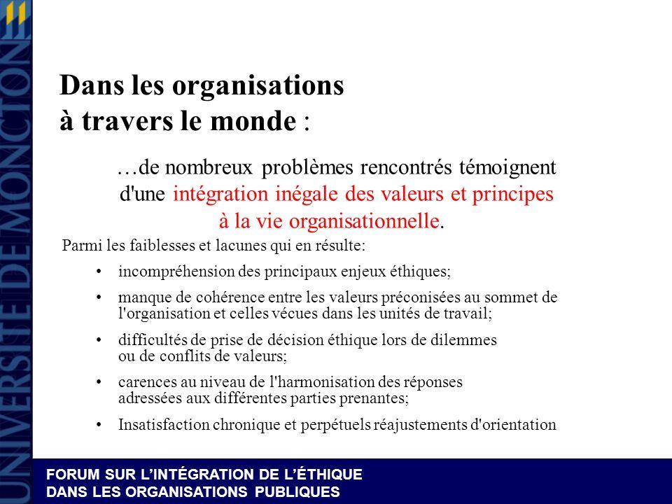 FORUM SUR LINTÉGRATION DE LÉTHIQUE DANS LES ORGANISATIONS PUBLIQUES Quindiquent les recherches .