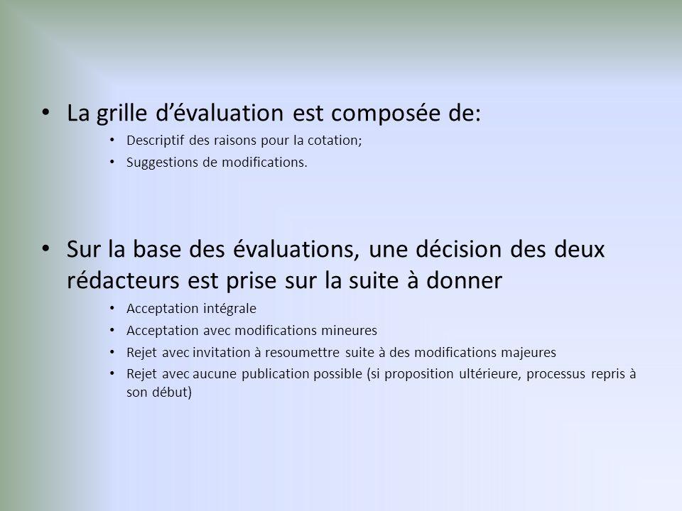 La grille dévaluation est composée de: Descriptif des raisons pour la cotation; Suggestions de modifications.