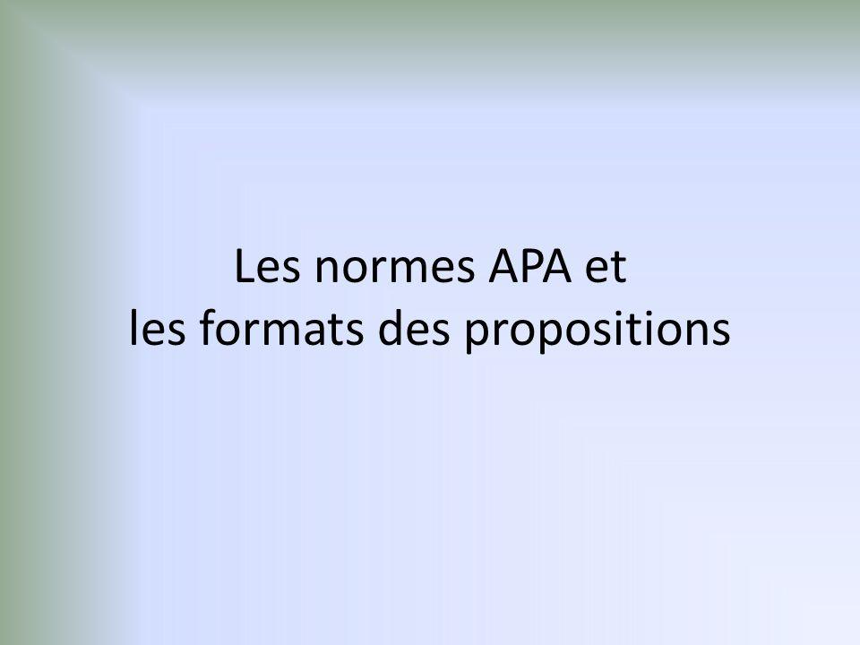 Les normes APA et les formats des propositions