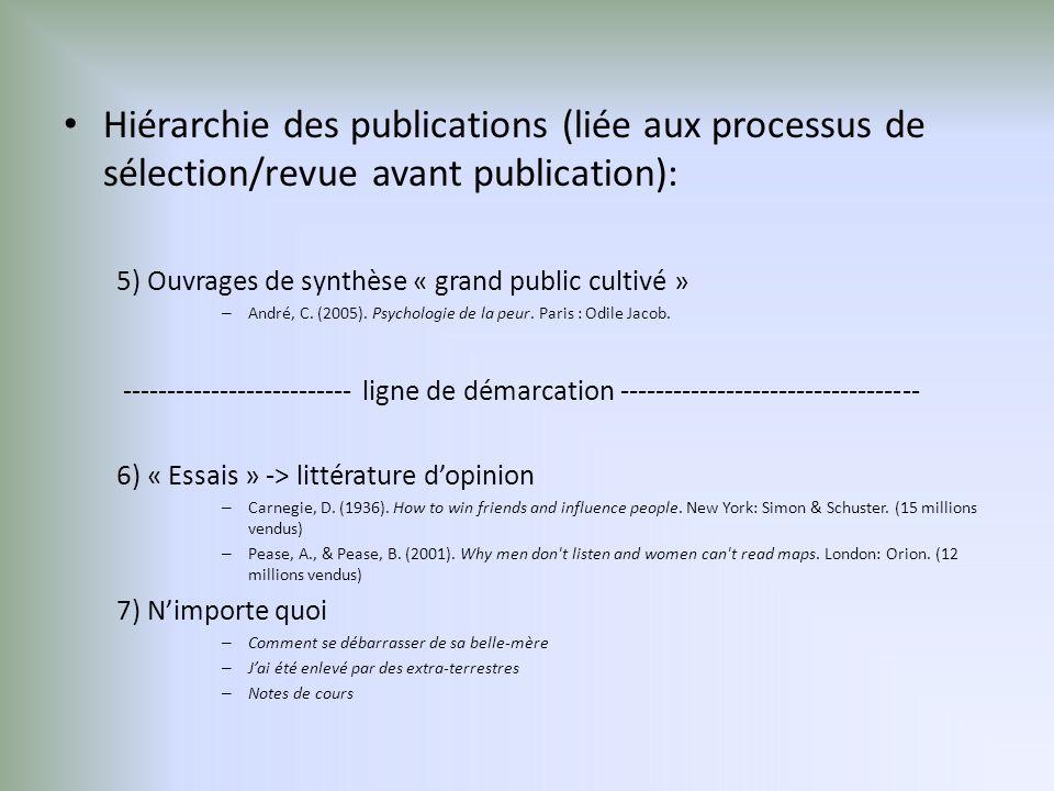 Hiérarchie des publications (liée aux processus de sélection/revue avant publication): 5) Ouvrages de synthèse « grand public cultivé » – André, C.