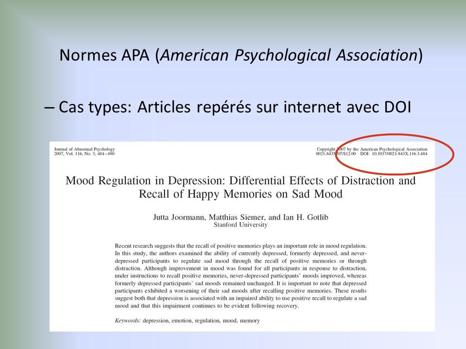 Normes APA (American Psychological Association) – Cas types: Articles repérés sur internet avec DOI