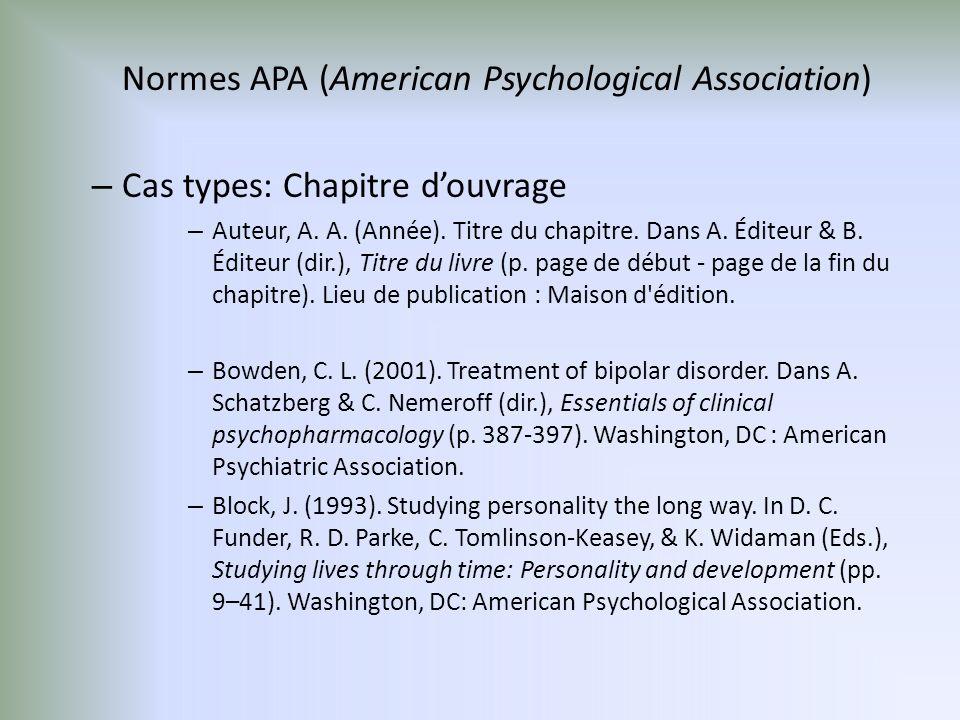 Normes APA (American Psychological Association) – Cas types: Chapitre douvrage – Auteur, A.