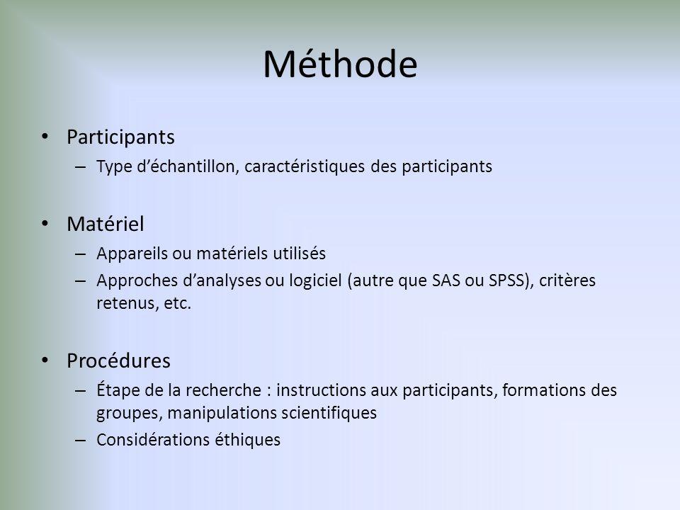 Méthode Participants – Type déchantillon, caractéristiques des participants Matériel – Appareils ou matériels utilisés – Approches danalyses ou logiciel (autre que SAS ou SPSS), critères retenus, etc.