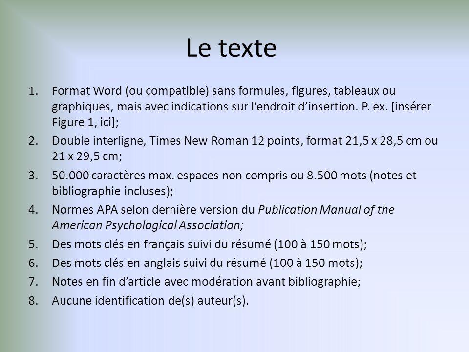 Le texte 1.Format Word (ou compatible) sans formules, figures, tableaux ou graphiques, mais avec indications sur lendroit dinsertion.