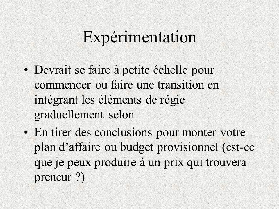 Expérimentation Devrait se faire à petite échelle pour commencer ou faire une transition en intégrant les éléments de régie graduellement selon En tir