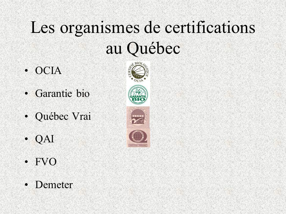 Les organismes de certifications au Québec OCIA Garantie bio Québec Vrai QAI FVO Demeter