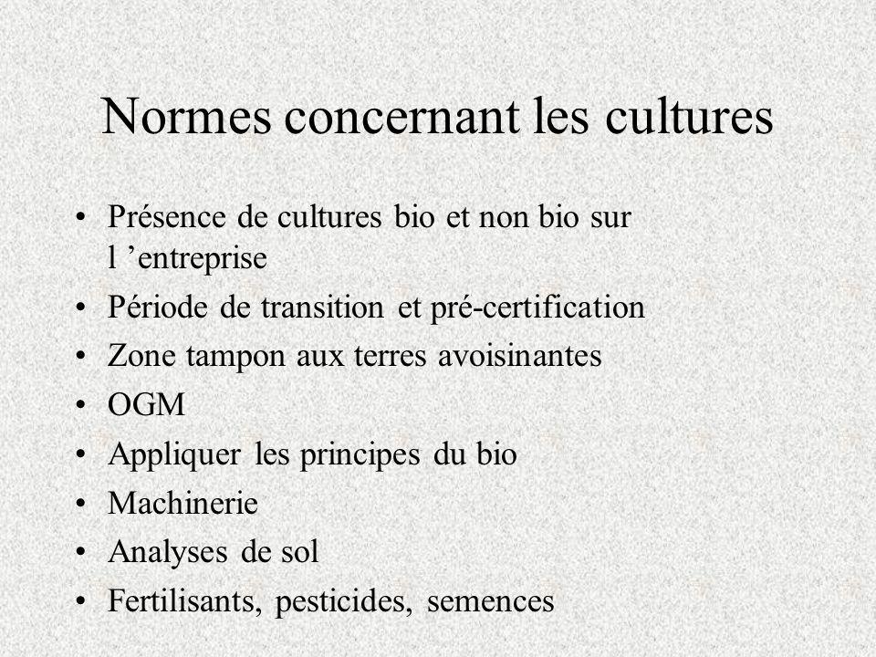 Normes concernant les cultures Présence de cultures bio et non bio sur l entreprise Période de transition et pré-certification Zone tampon aux terres avoisinantes OGM Appliquer les principes du bio Machinerie Analyses de sol Fertilisants, pesticides, semences