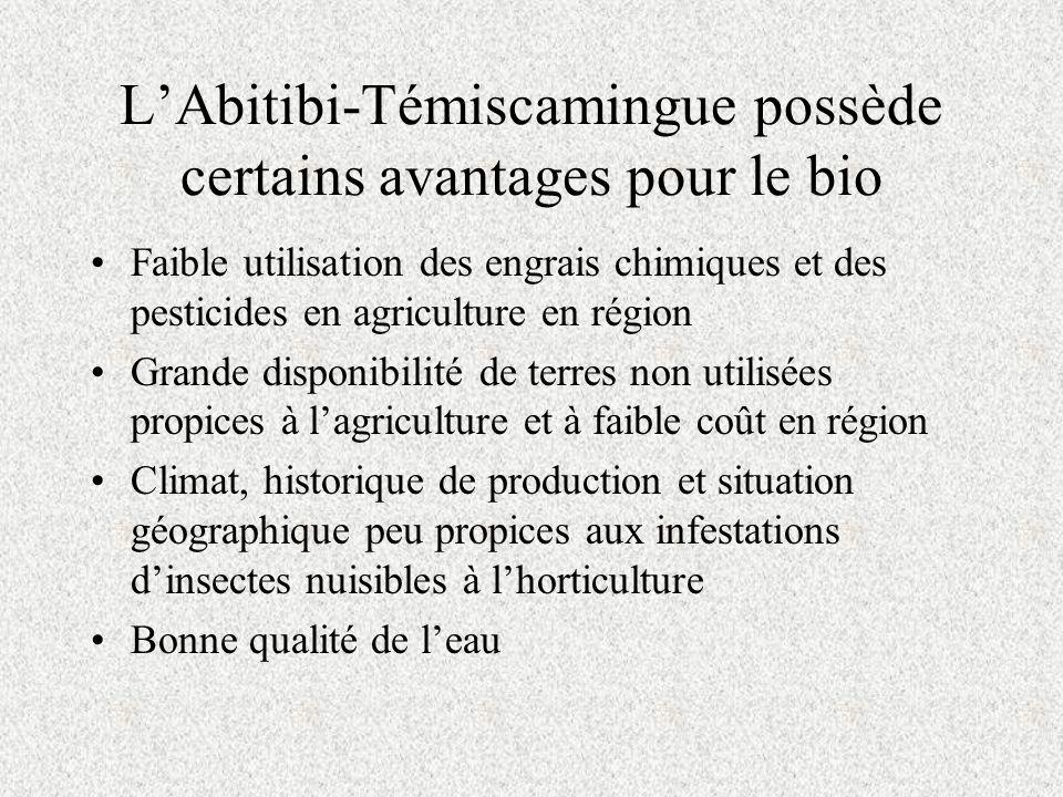 LAbitibi-Témiscamingue possède certains avantages pour le bio Faible utilisation des engrais chimiques et des pesticides en agriculture en région Grande disponibilité de terres non utilisées propices à lagriculture et à faible coût en région Climat, historique de production et situation géographique peu propices aux infestations dinsectes nuisibles à lhorticulture Bonne qualité de leau