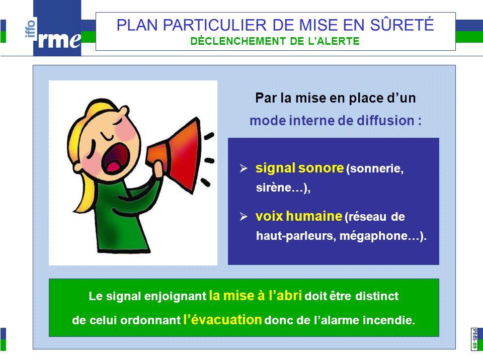 PMS -09 PLAN PARTICULIER DE MISE EN SÛRETÉ DĖCLENCHEMENT DE LALERTE Par la mise en place dun mode interne de diffusion : signal sonore (sonnerie, sirène…), voix humaine (réseau de haut-parleurs, mégaphone…).