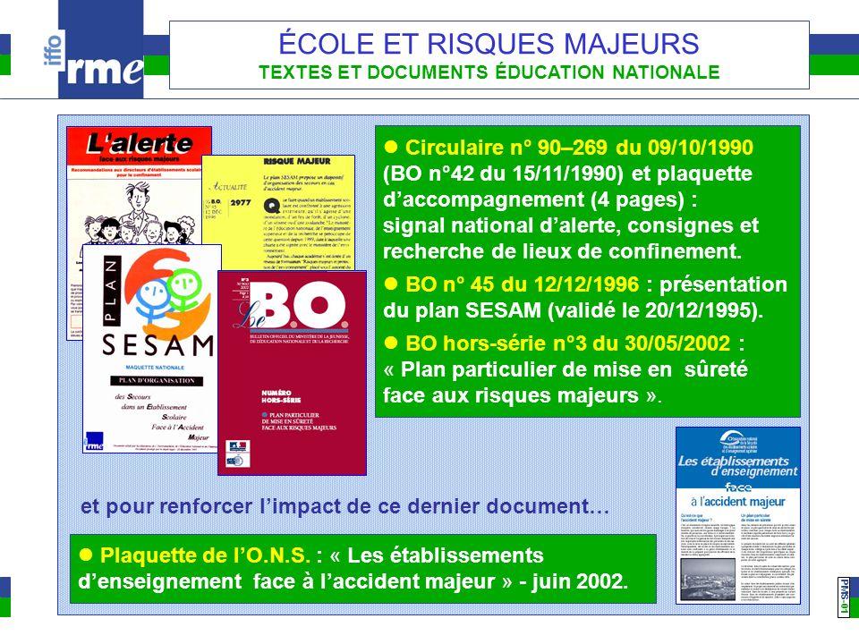 PMS -01 ÉCOLE ET RISQUES MAJEURS TEXTES ET DOCUMENTS ÉDUCATION NATIONALE Circulaire n° 90–269 du 09/10/1990 (BO n°42 du 15/11/1990) et plaquette dacco