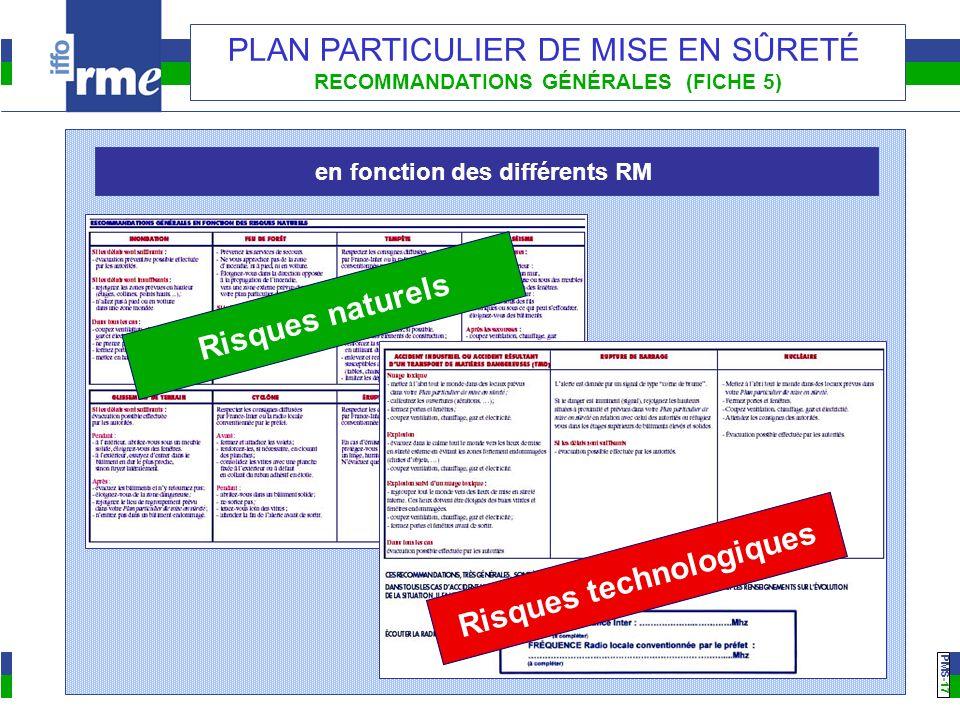 PMS -17 PLAN PARTICULIER DE MISE EN SÛRETÉ RECOMMANDATIONS GÉNÉRALES (FICHE 5) Risques naturels Risques technologiques en fonction des différents RM
